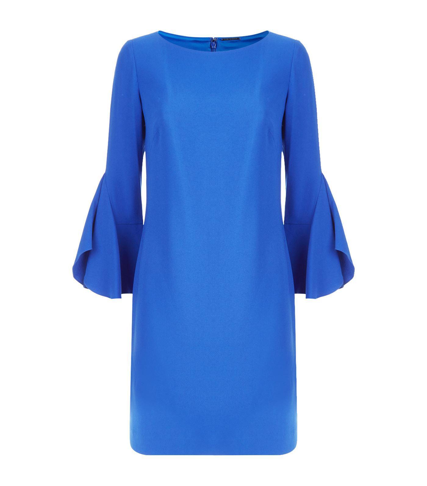 aff8a17b7a10 Elie Tahari. Women's Blue Dori Boat-neck Flared-sleeve Crepe A-line Dress
