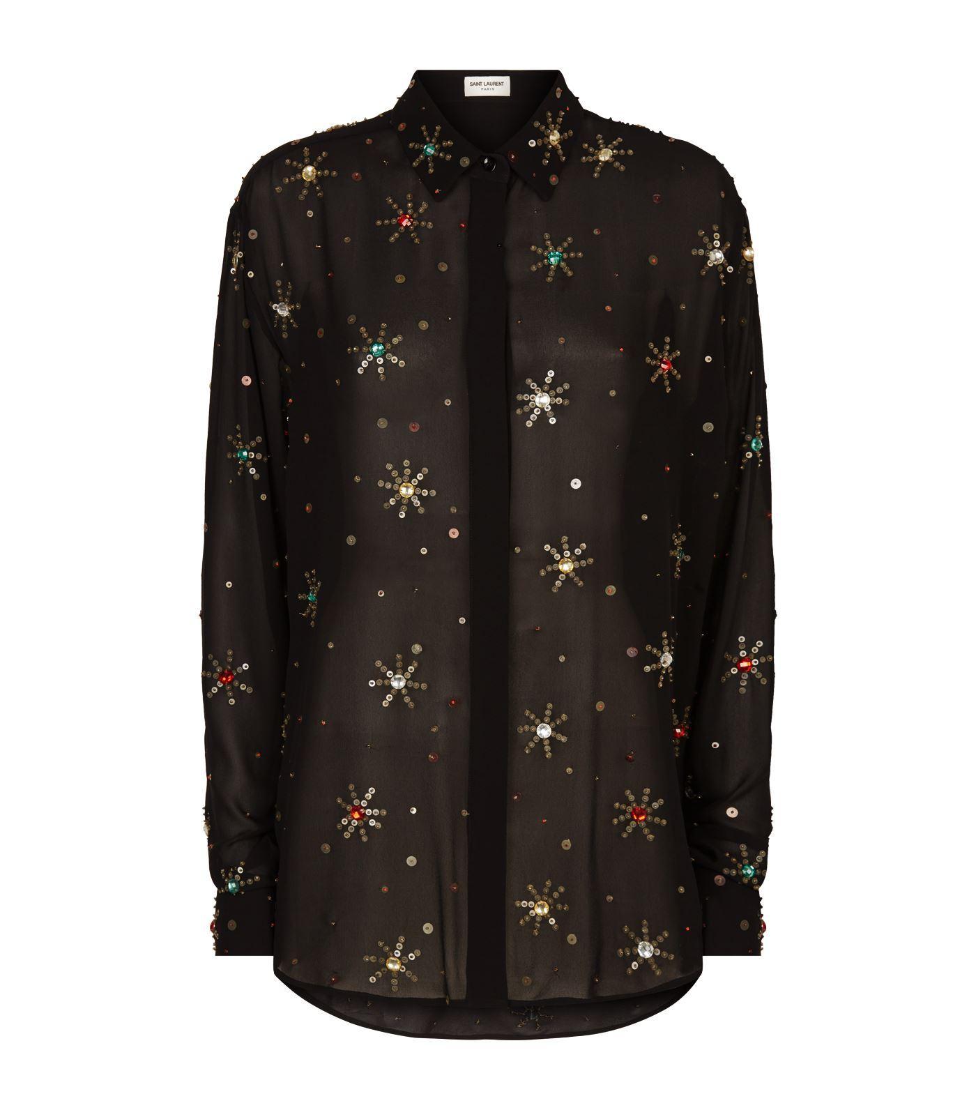 673f09db00e8c6 Saint Laurent - Black Embellished Blouse - Lyst. View fullscreen