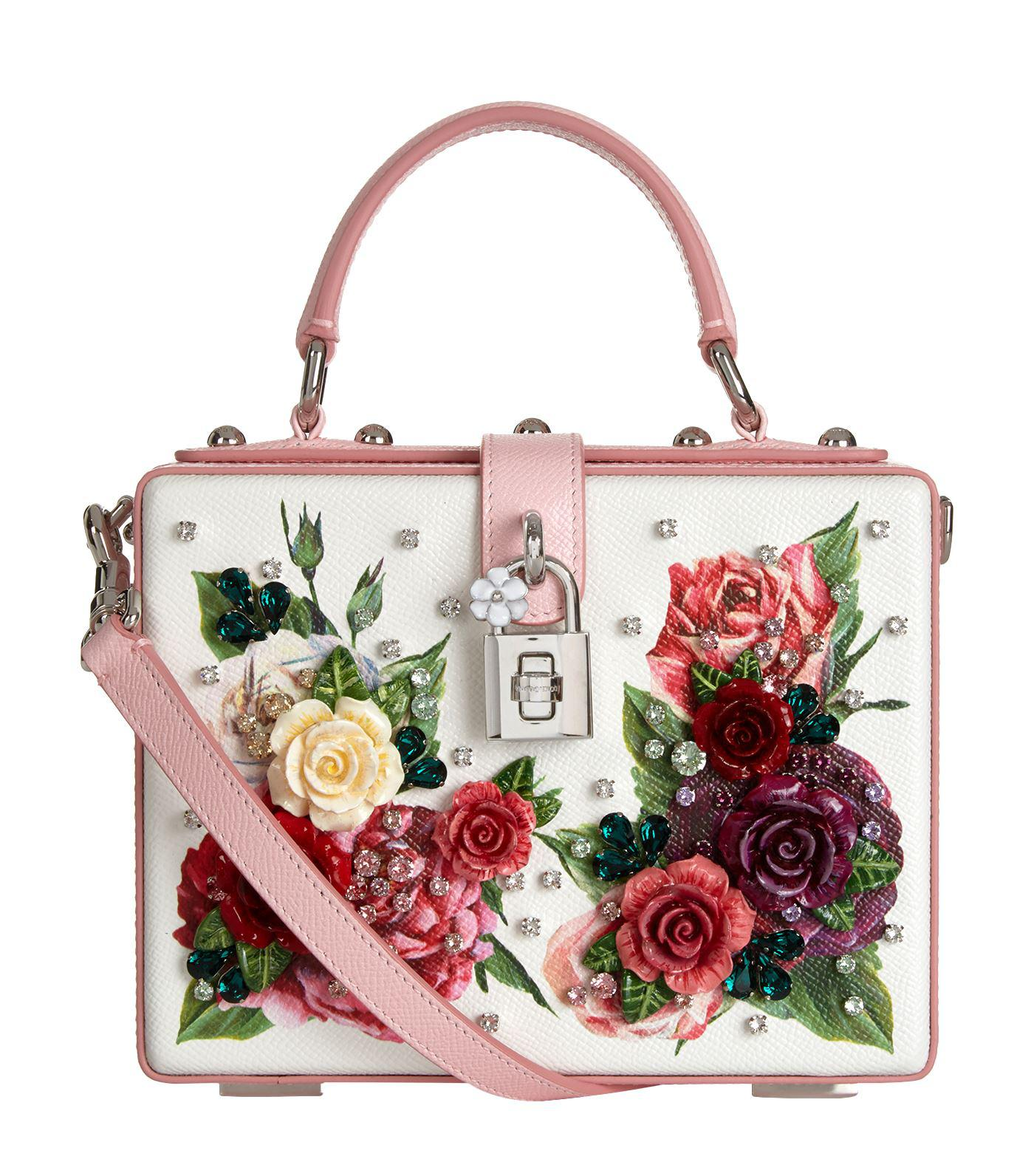 72cfd6e4a3b3 Dolce   Gabbana Leather Peony Box Bag in Red - Lyst