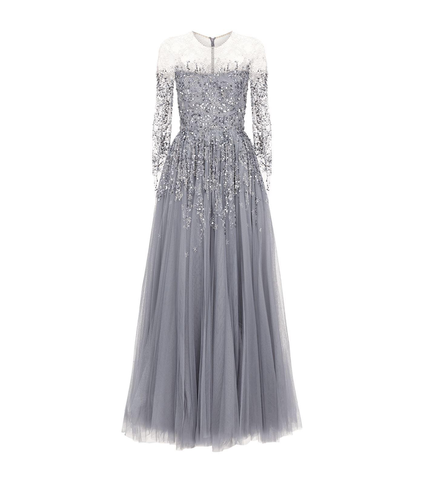 Lyst - Jenny Packham Sequin Tulle Gown in Purple