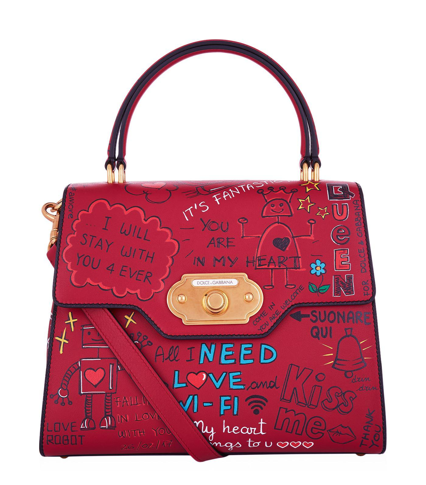 Welcome doorbell floral-print leather bag Dolce & Gabbana lDWG32zMtc