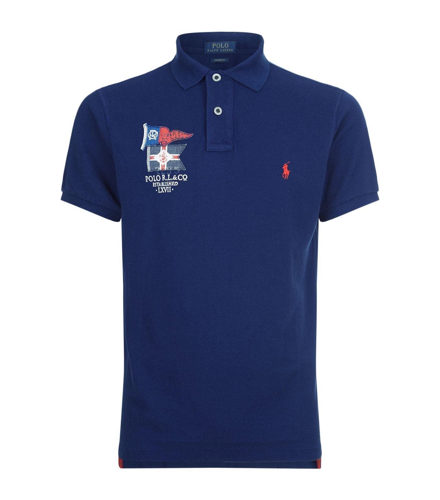 Lyst polo ralph lauren yacht club polo shirt in blue for men for Ralph lauren polo club shirts