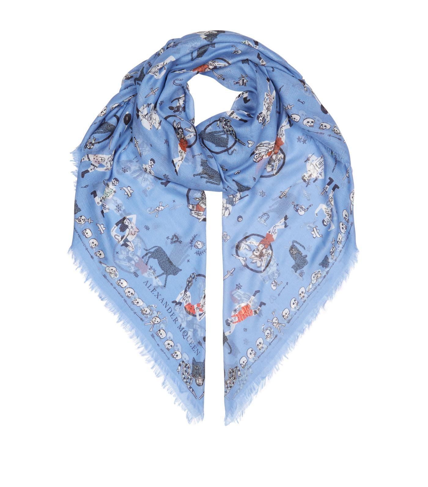 mcqueen circus tricks silk scarf in blue save