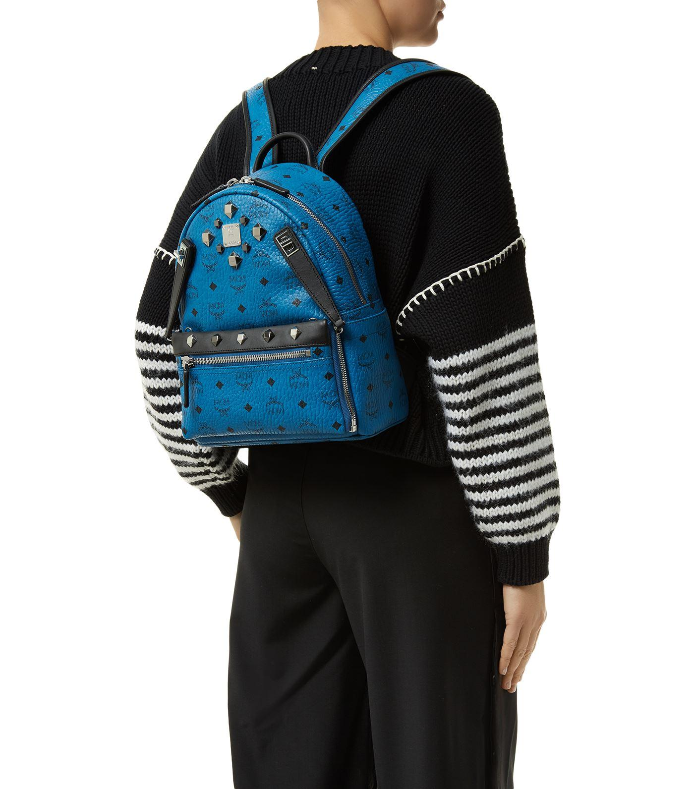 mcm small dual stark backpack in blue lyst. Black Bedroom Furniture Sets. Home Design Ideas