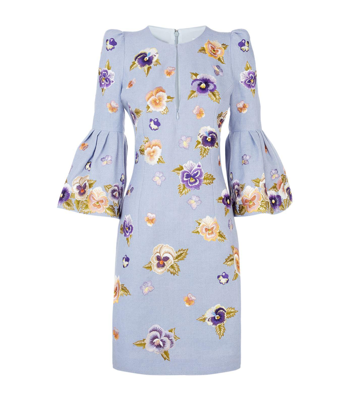 Andrew gn Embroidered Bell Sleeve Dress in Blue