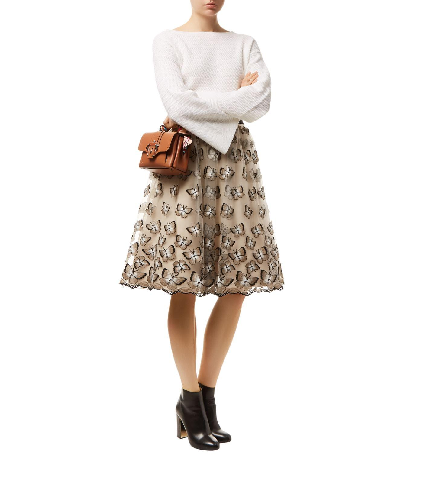 Alice olivia butterfly embroidered skirt in white lyst