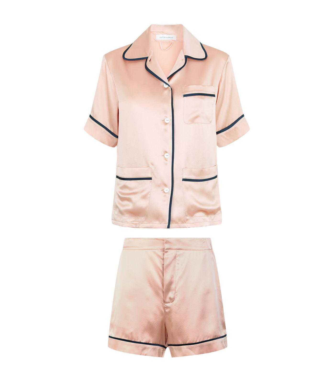 Lyst - Olivia Von Halle Millicent Short Sleeve Pyjama Set in Pink 202efffeb