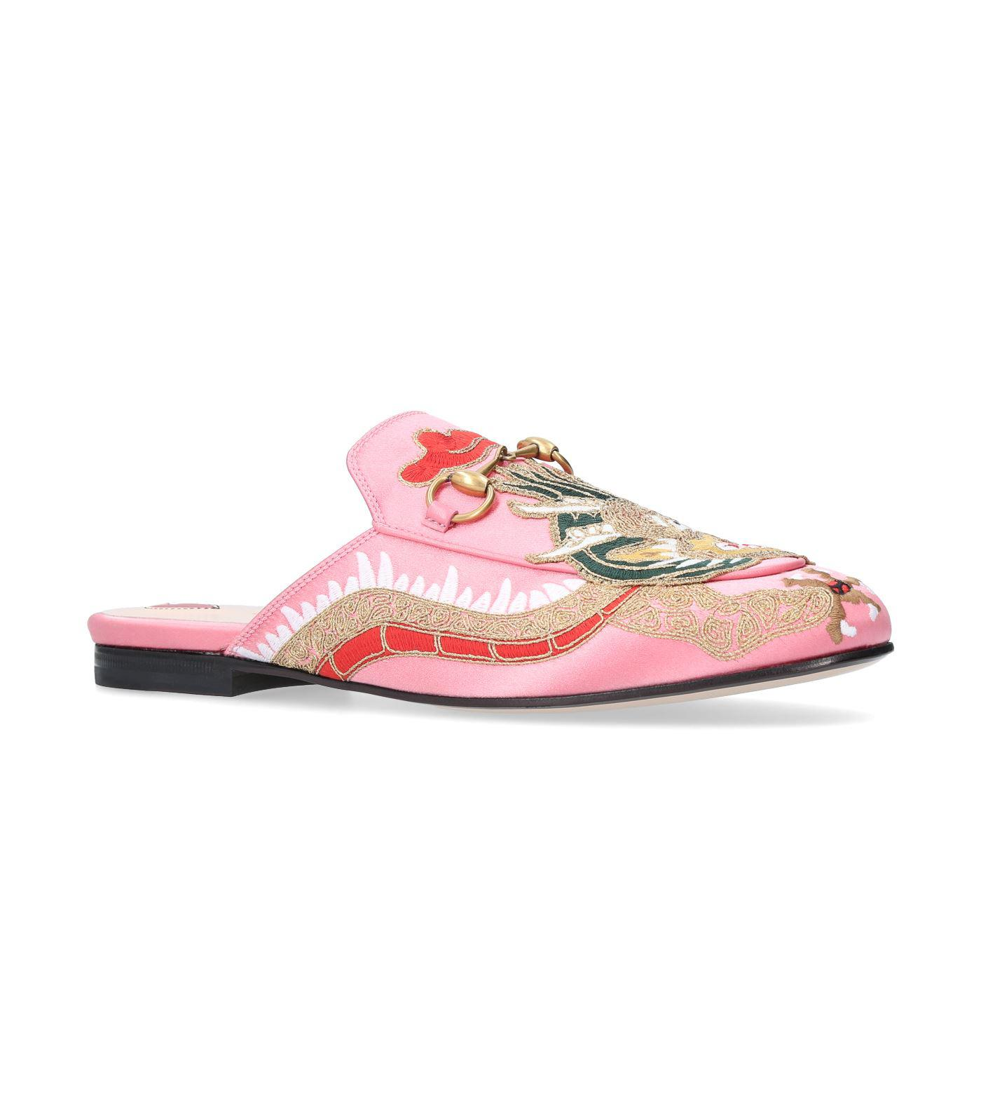 af37d24a5 Gucci Princetown Satin Dragon Slippers in Pink - Lyst
