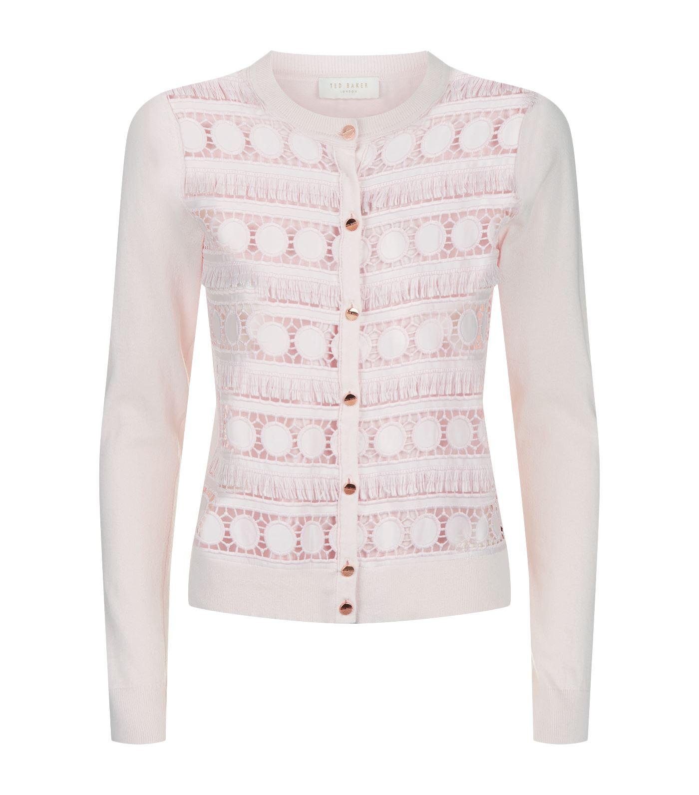 Ted baker Ellenii Lace Panel Cardigan in Pink | Lyst