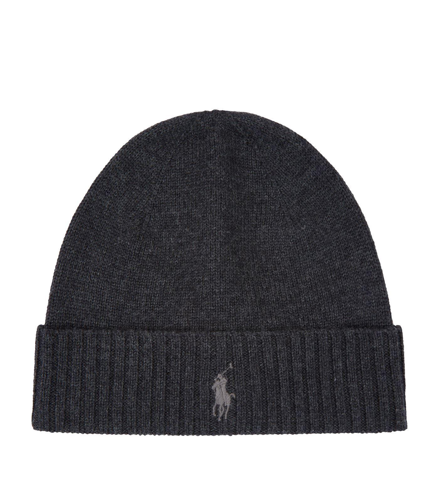 Polo Ralph Lauren Merino Wool Ribbed Beanie Hat in Gray for Men ... 7769eb0fa52b