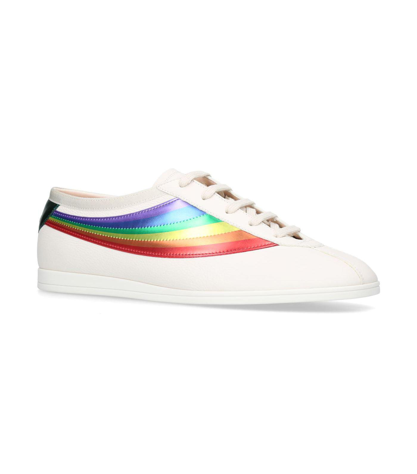 fe1901490 Gucci Rainbow Leather Competition Sneakers in White for Men - Lyst
