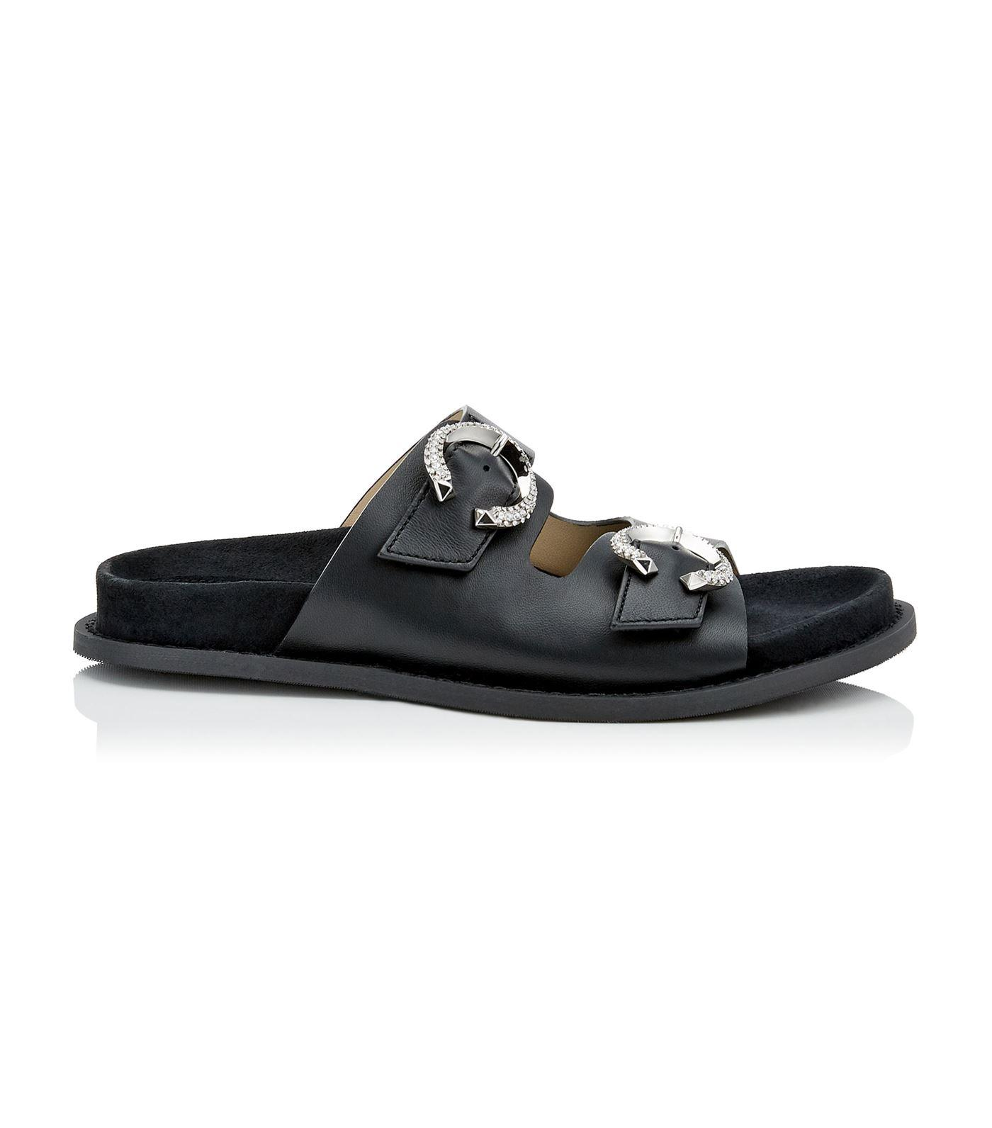 fab0ef6144e Lyst - Jimmy Choo Acer Nappa Buckled Flats in Black