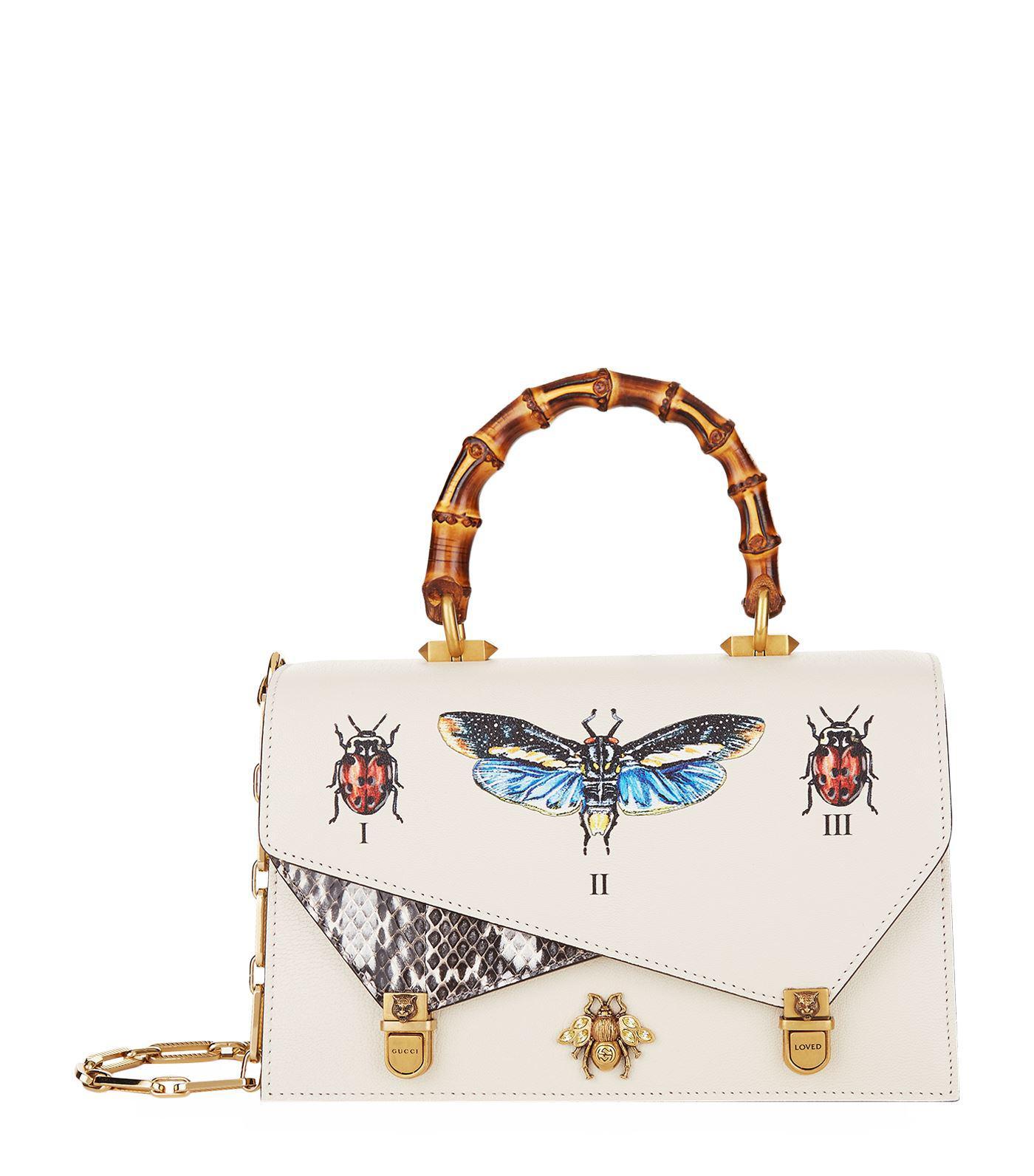 3f877c0596be4f Gucci Ottilia Leather Small Top Handle in White - Lyst