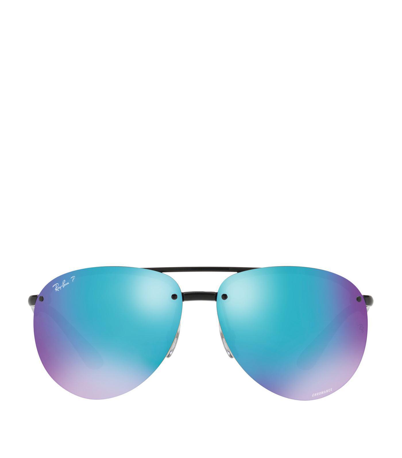 585ea985da Ray-Ban Polarised Mirror Aviator Sunglasses in Black - Lyst