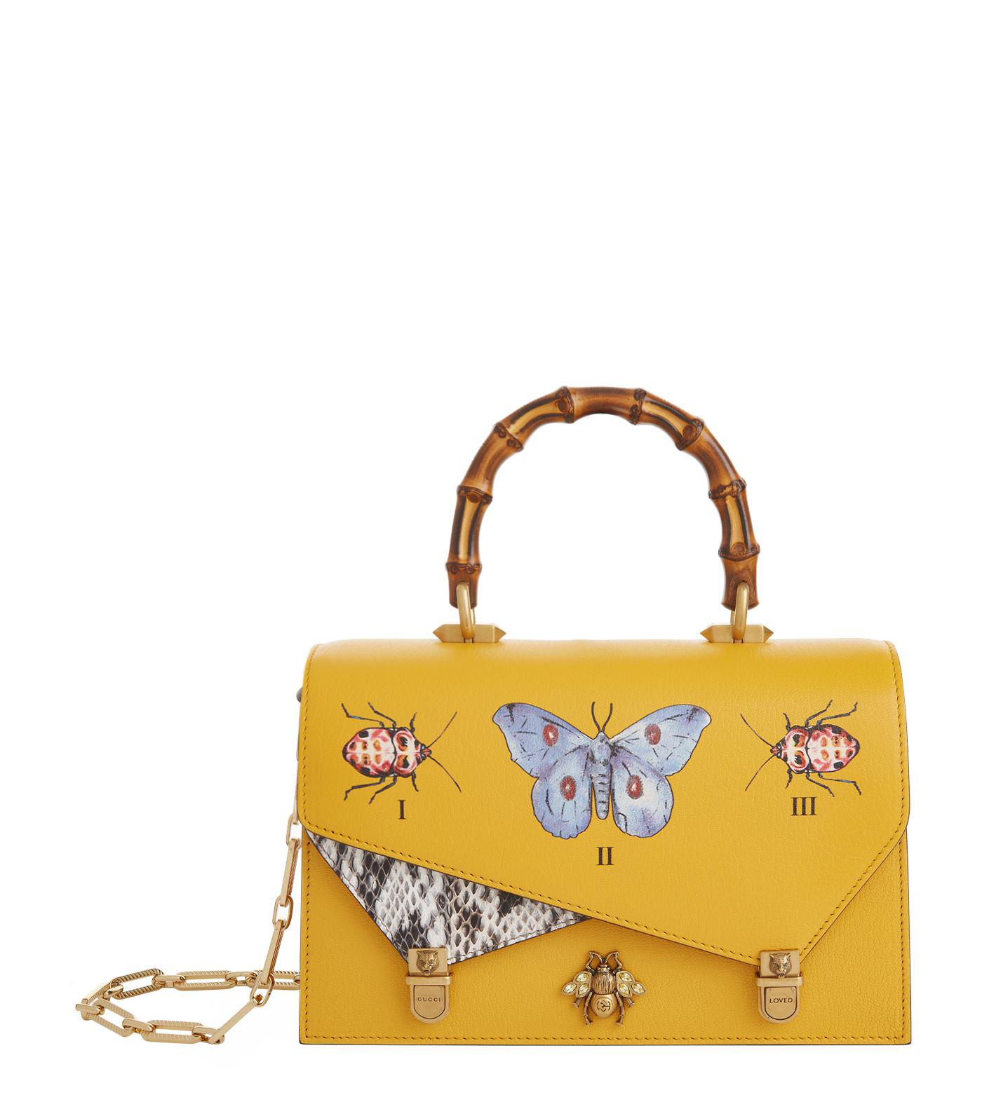 79e4ecd445ae Gucci Ottilia Butterfly Top Handle Bag in Yellow - Lyst