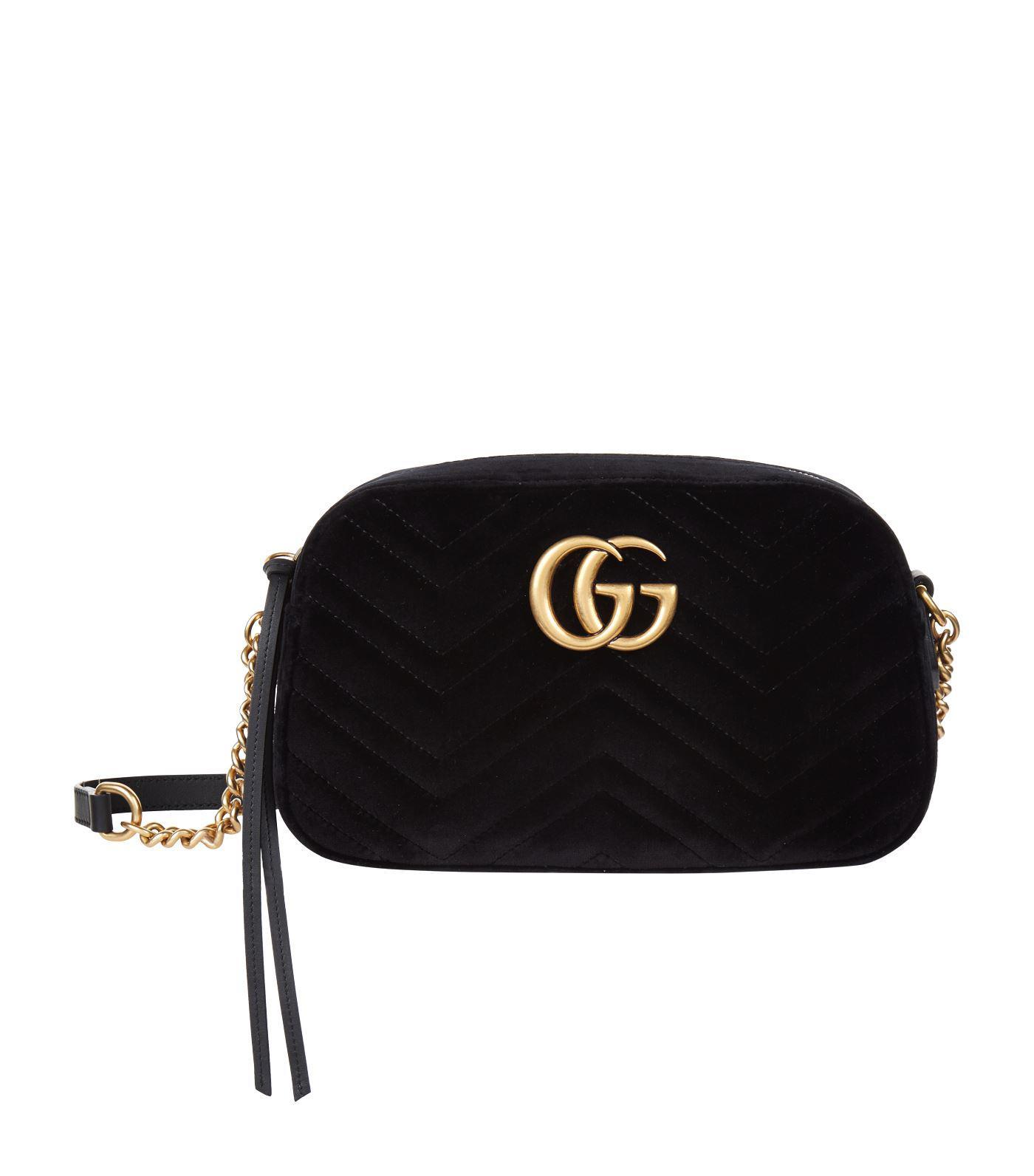 bb557264aa67 Gucci Small Velvet Marmont Matelass Cross Body Bag in Black - Lyst