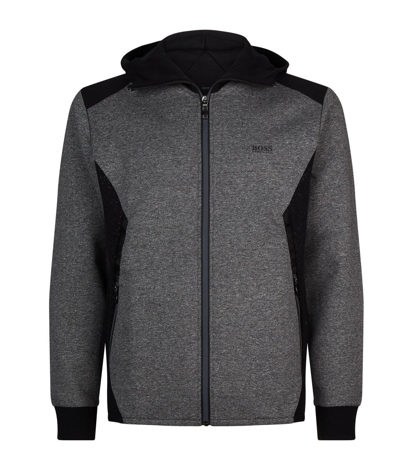 Hugo Boss Men/'s Saggy Hoodie Sweatshirt Jacket Zip Up Logo 50387166 001 Black