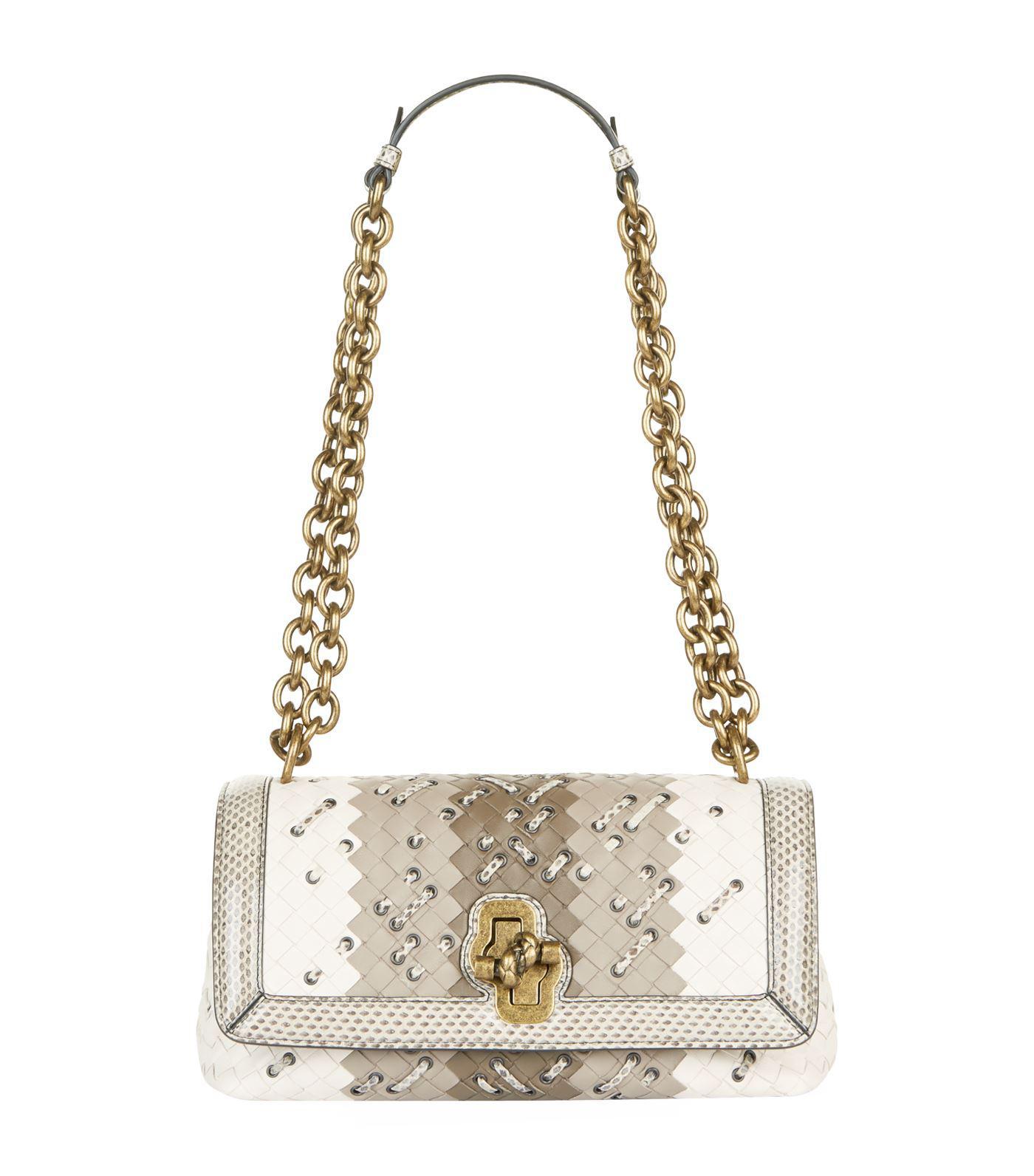 fb82b6e792 Lyst - Bottega Veneta Club Stitch Olimpia Knot Bag in White