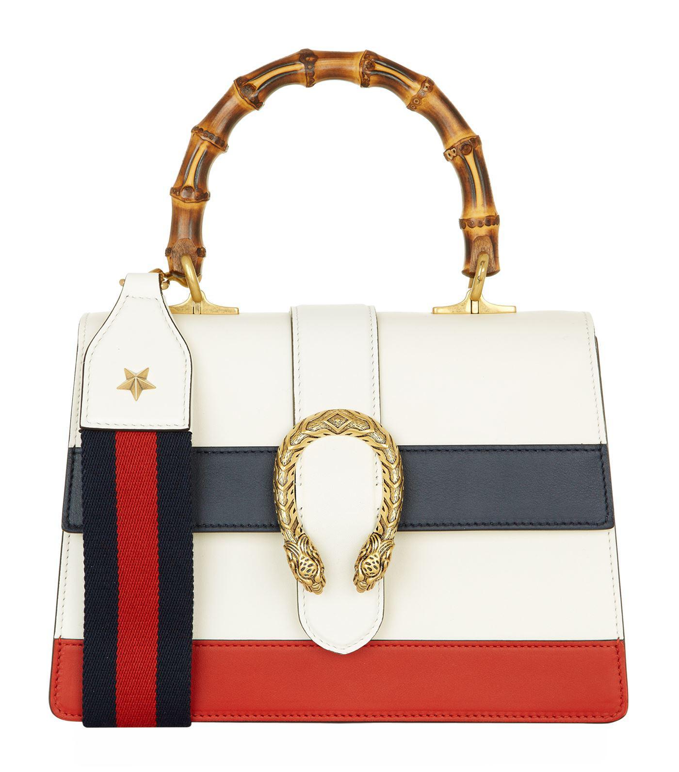 50c074bbc Gucci Medium Stripe Dionysus Bamboo Top Handle Bag in White - Lyst