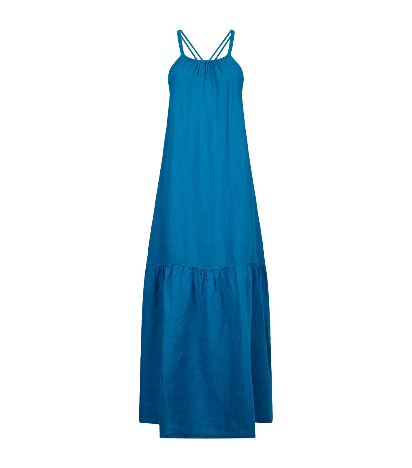 f2fcecf6d6 Lyst - 120% Lino Halterneck Maxi Dress in Blue