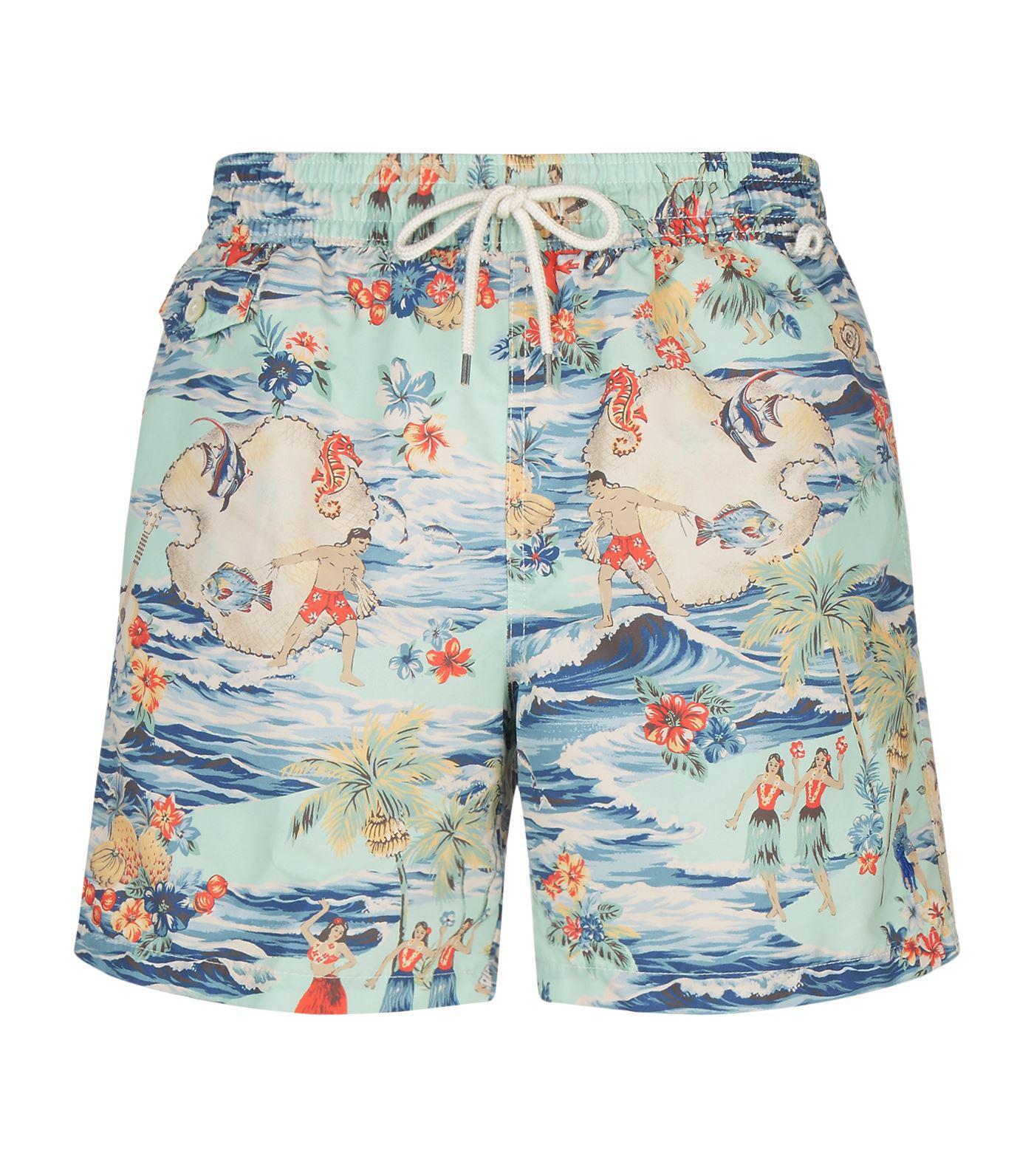 c5988c65fb Lyst - Polo Ralph Lauren Printed Swim Shorts in Blue for Men
