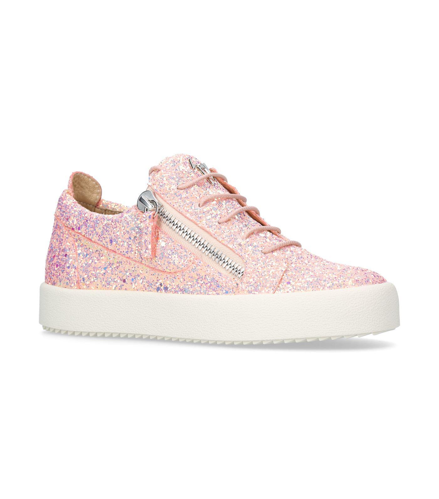 a84b8b166a0d9 Giuseppe Zanotti Glitter Cheryl Low-top Sneakers in Pink - Lyst