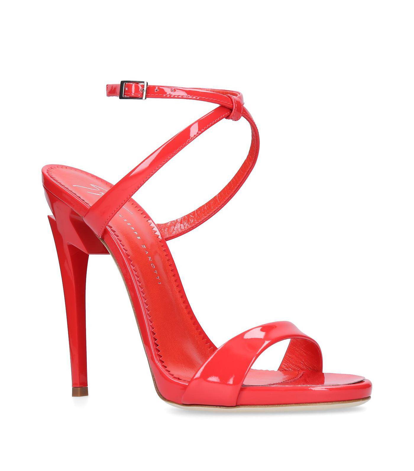 c87ede13747 Lyst - Giuseppe Zanotti Leather Lightning Bolt Sandals 115 in Red