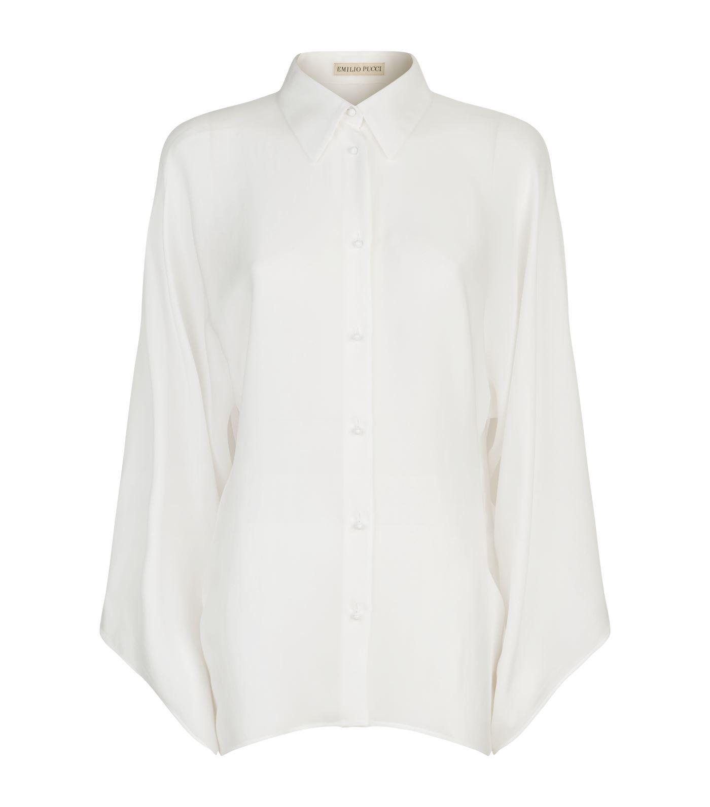 Wide-sleeved Silk-georgette Blouse - White Emilio Pucci Cheap Visit New Outlet Best Store To Get Best Prices Cheap Online Visit New Eastbay CnByKl7