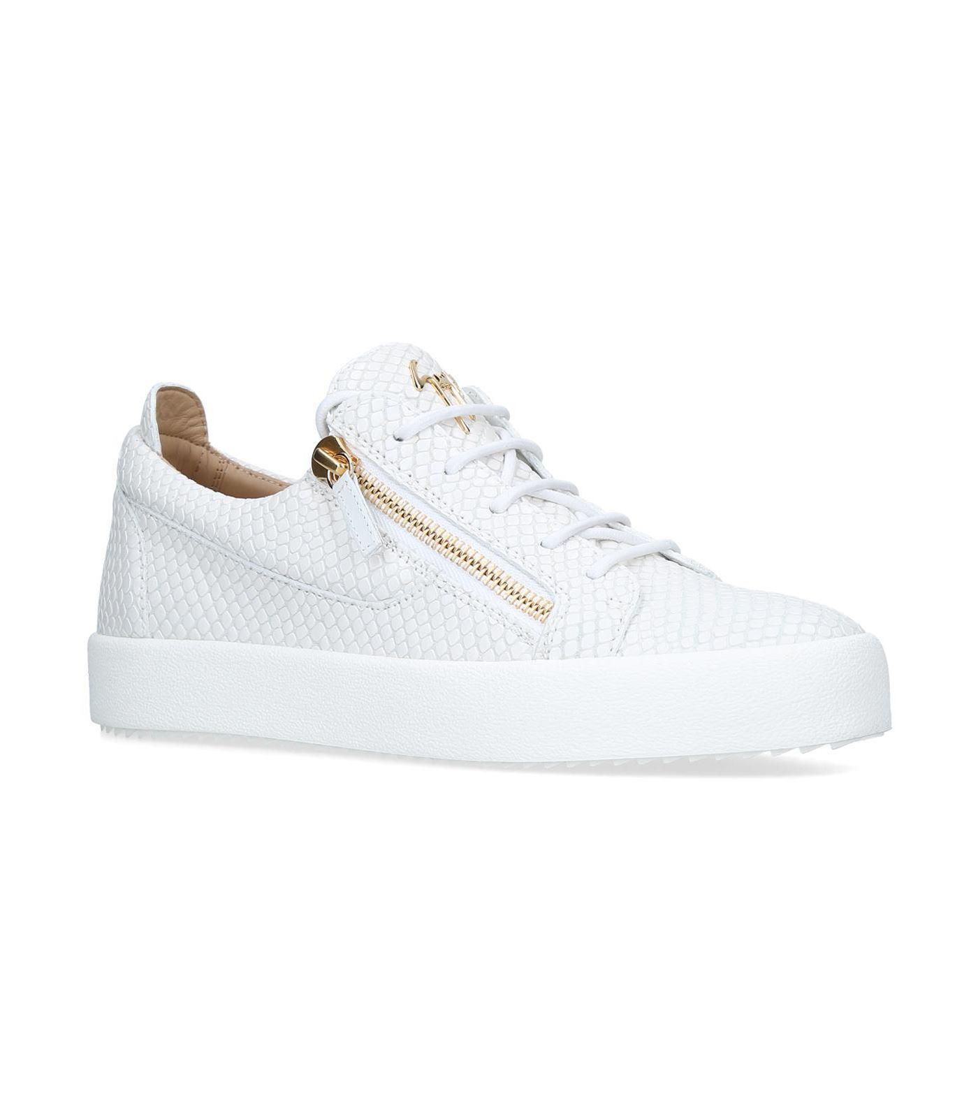 7ab115f2dd7d6 Lyst - Giuseppe Zanotti Croc Embossed Sneakers in White for Men