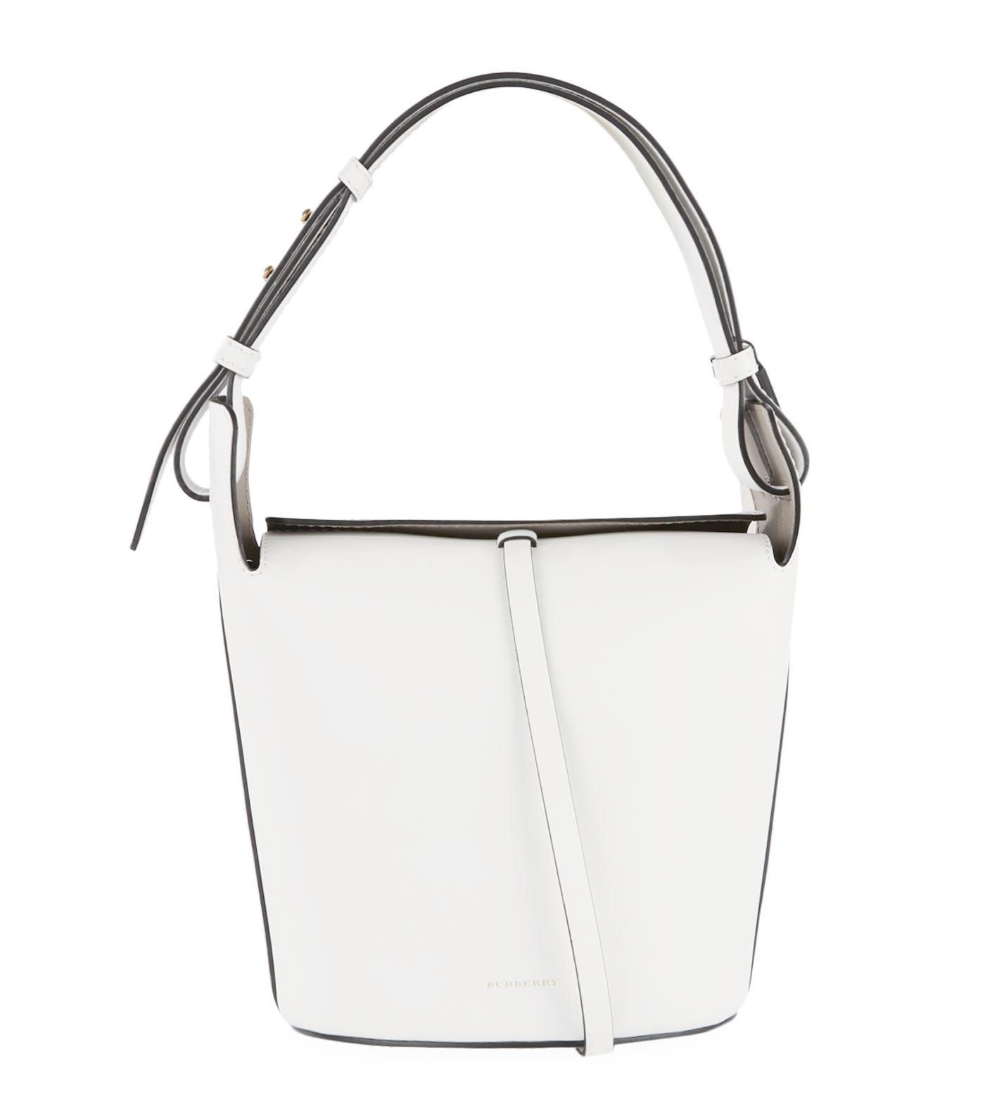 The Small Leather Bucket Bag - White Burberry Cheap Classic Purchase Sale Online Cool Shopping veR47BtpW7