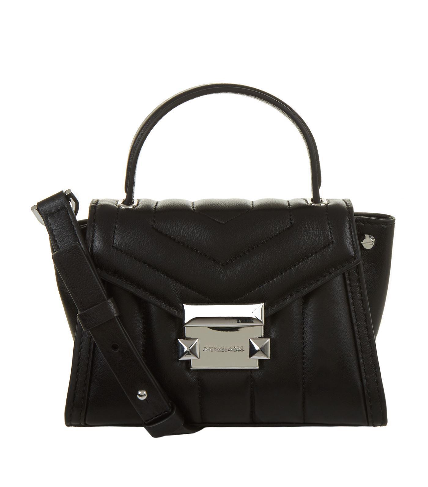 922ee0ca89 Michael Michael Kors Mini Whitney Leather Messenger Bag in Black - Lyst