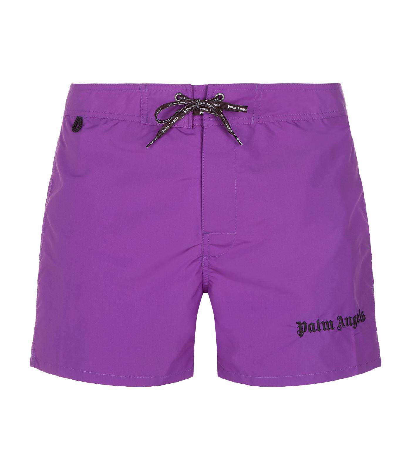 910183a3fb Palm Angels Iconic Logo Embroidered Swim Shorts in Purple for Men - Lyst