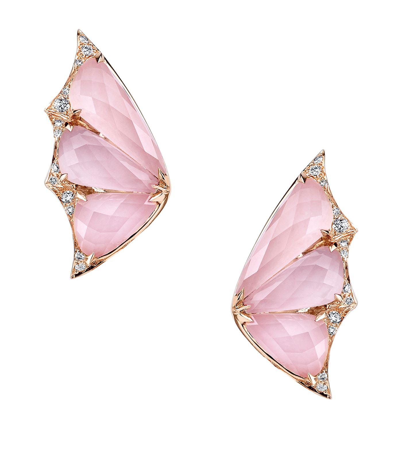 3e189179c507 Stephen Webster. Women s Pink Rose Gold And Diamond Fly By Night Crystal  Haze Earrings