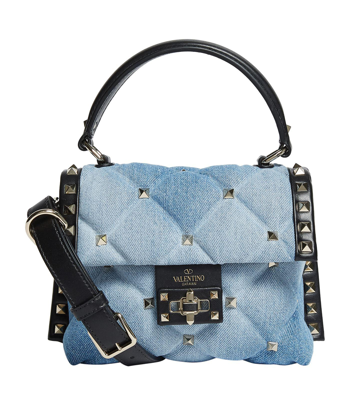 37184a6e1bc Valentino Mini Denim Candystud Top Handle Bag in Black - Lyst