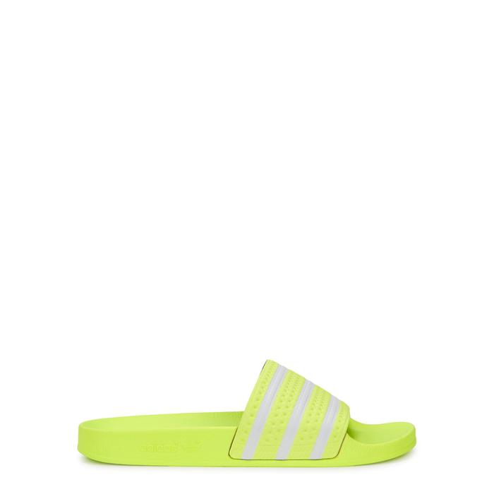 e6473bd5d adidas Originals Adilette Neon Yellow Leather Sliders in Yellow for ...