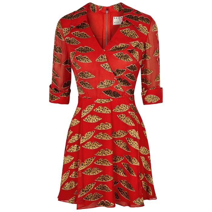 8ee6337f68f0 Alice + Olivia X Donald Robertson Catina Devoré Mini Dress in Red - Lyst