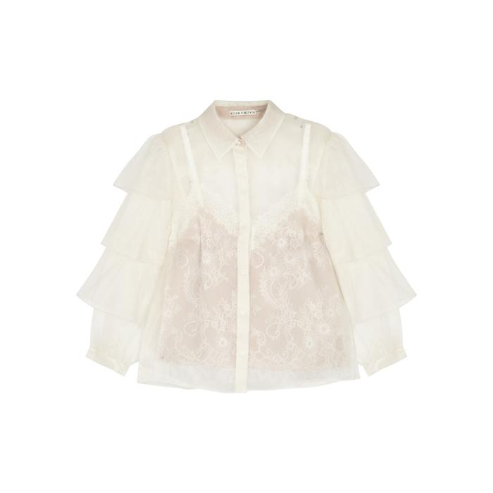 79d070faf5c278 Alice + Olivia Maryalice Lace Tank And Organza Blouse in White - Lyst