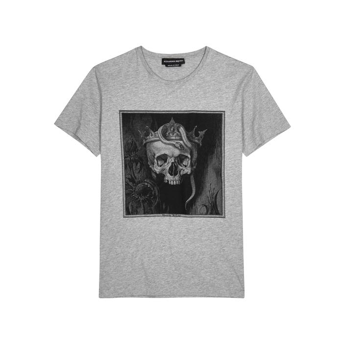 ae9210f6fec893 Alexander Mcqueen Light Grey Skull-print Cotton T-shirt in Gray for ...