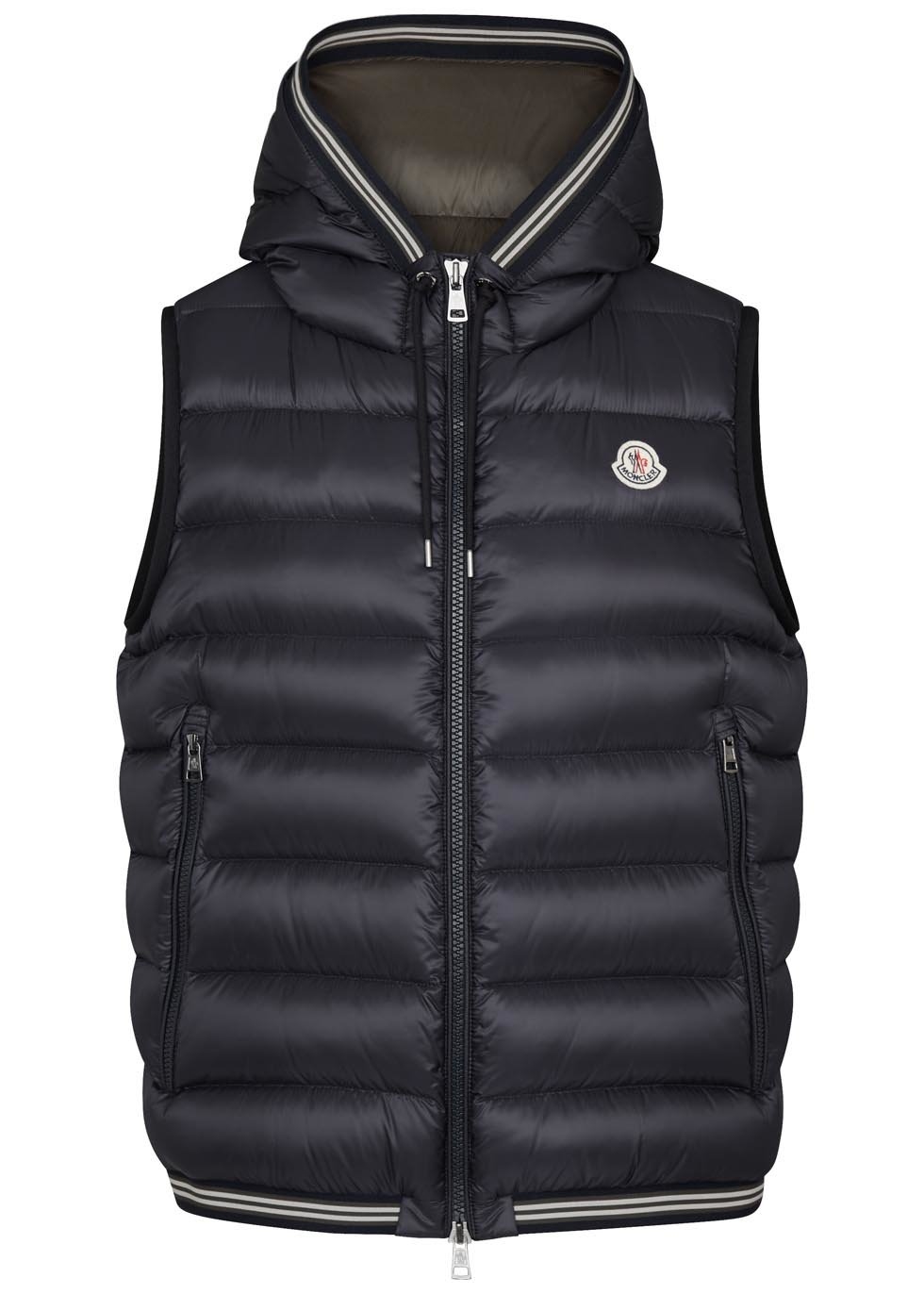 Moncler Amiens Navy Quilted Shell Gilet In Black For Men