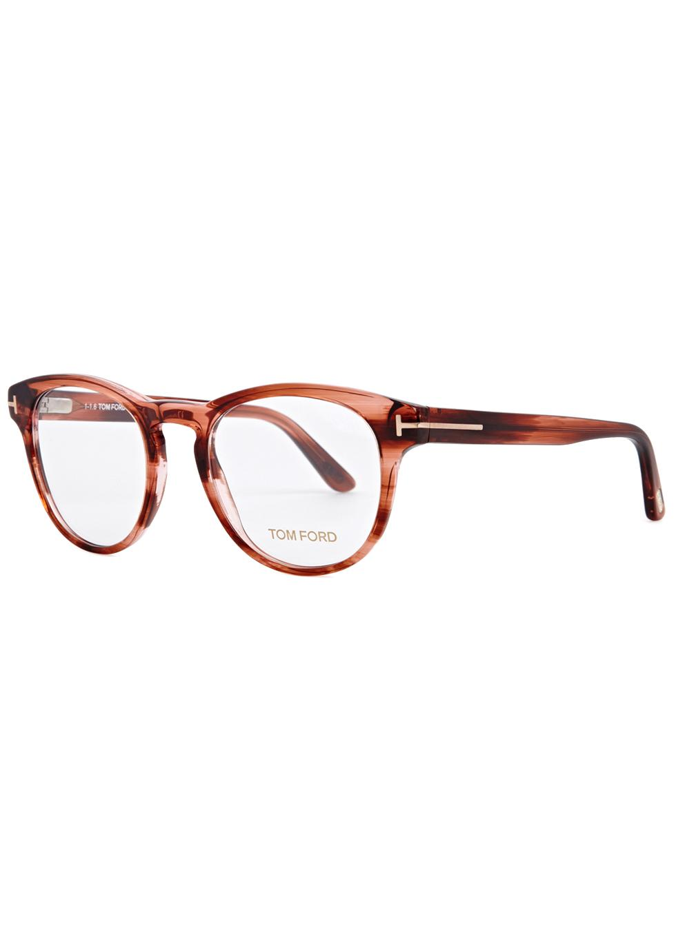 f26a2369724 Tom Ford Rust Round-frame Optical Glasses in Red - Lyst