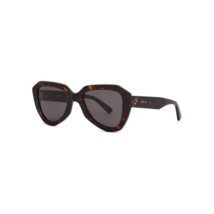 417b5217da2 Céline Striped Wayfarer-style Sunglasses in Brown - Lyst