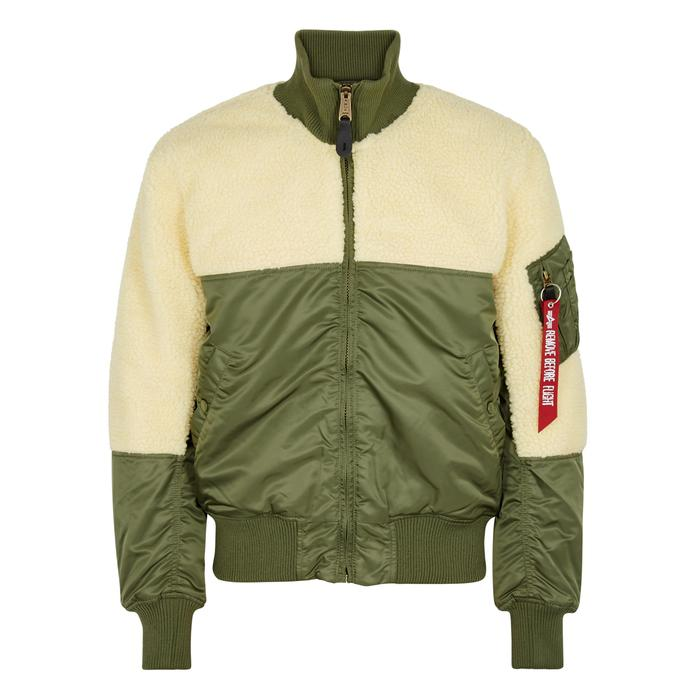 520344940 Alpha Industries Teddy Faux Shearling Shell Bomber Jacket in Green ...