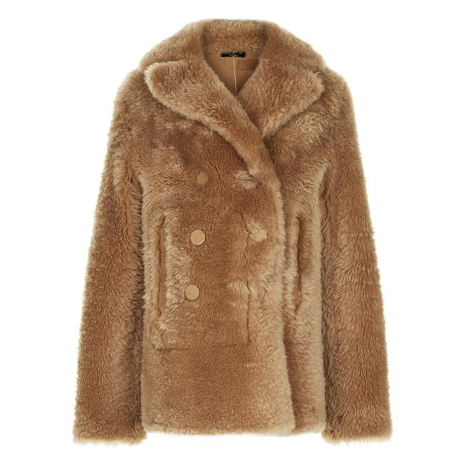 joseph new hector teddy merinos coat in brown lyst rh lyst co uk