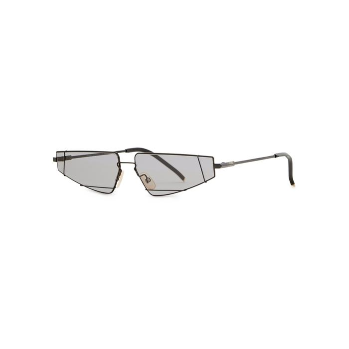 b102c689243 Fendi Black Rectangle-frame Sunglasses in Black - Lyst