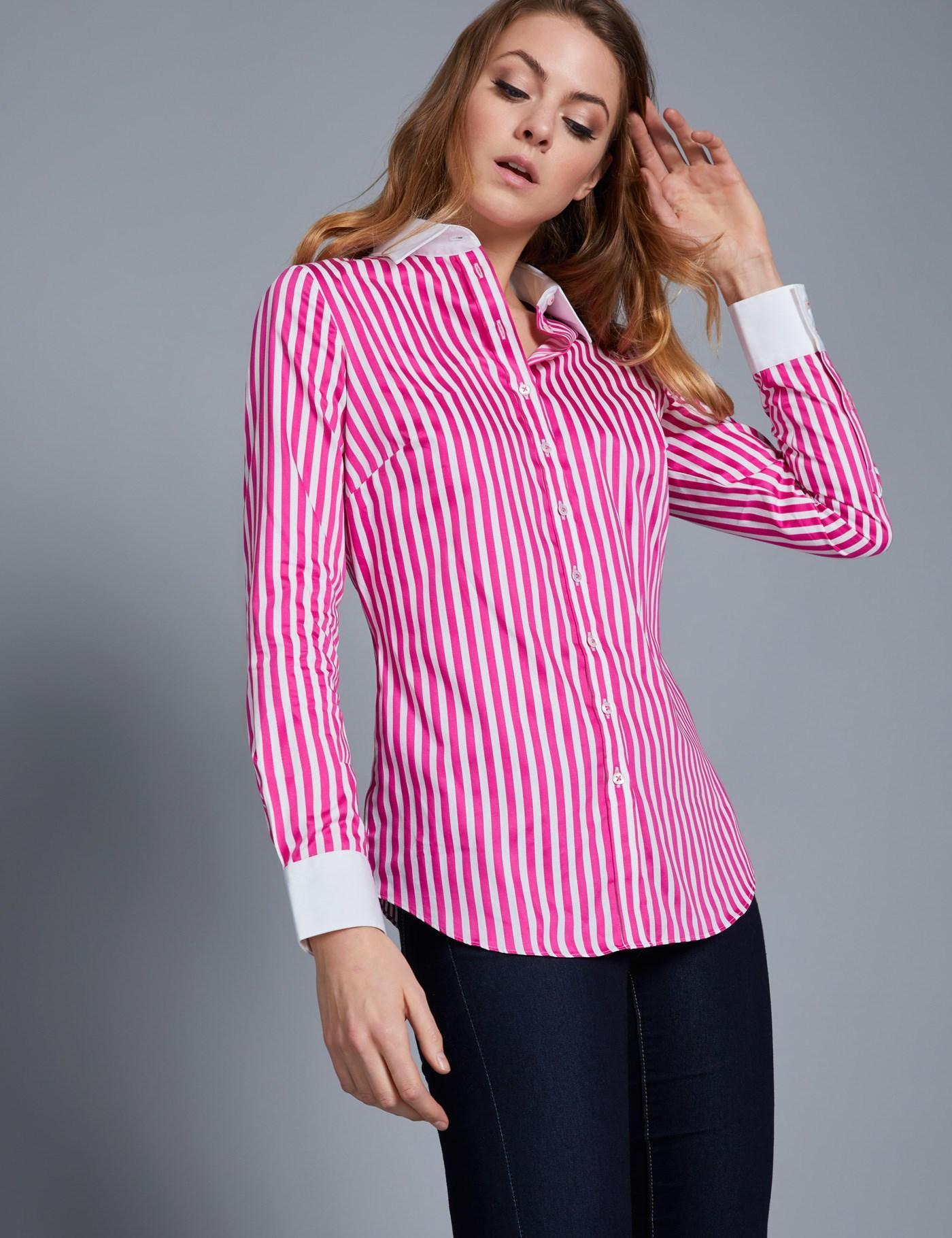 a7e51e2e2e Lyst - Hawes   Curtis White   Pink Bengal Stripe Semi Fitted Shirt ...