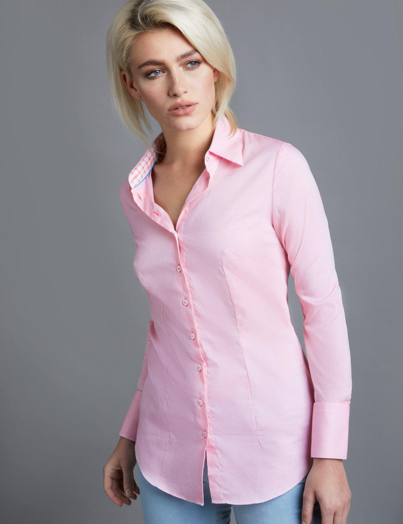 037bb7ab4cb4d0 Lyst - Hawes & Curtis Pink & White Dogstooth Check Fitted Shirt in Pink