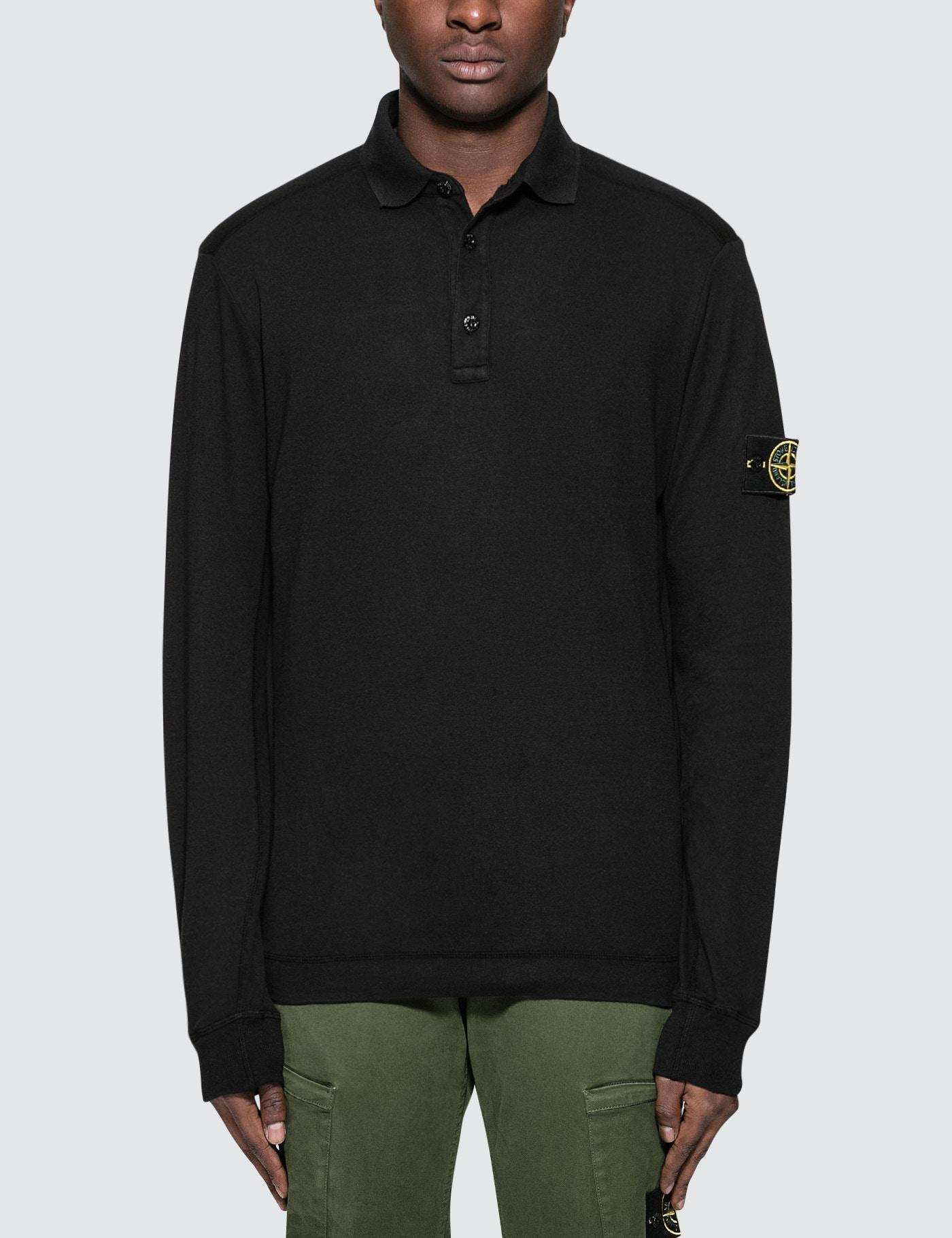 lyst stone island l s polo shirt in black for men. Black Bedroom Furniture Sets. Home Design Ideas