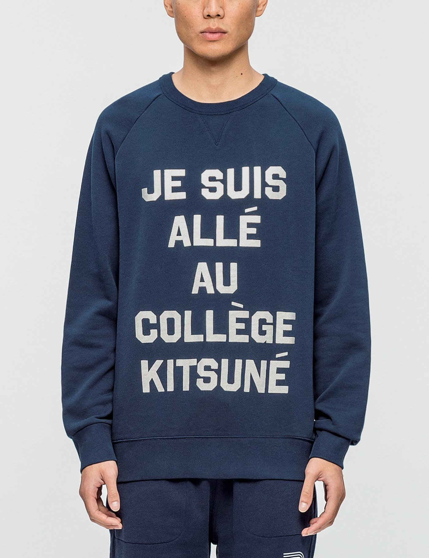 lyst maison kitsun je suis alle sweatshirt in blue for men. Black Bedroom Furniture Sets. Home Design Ideas