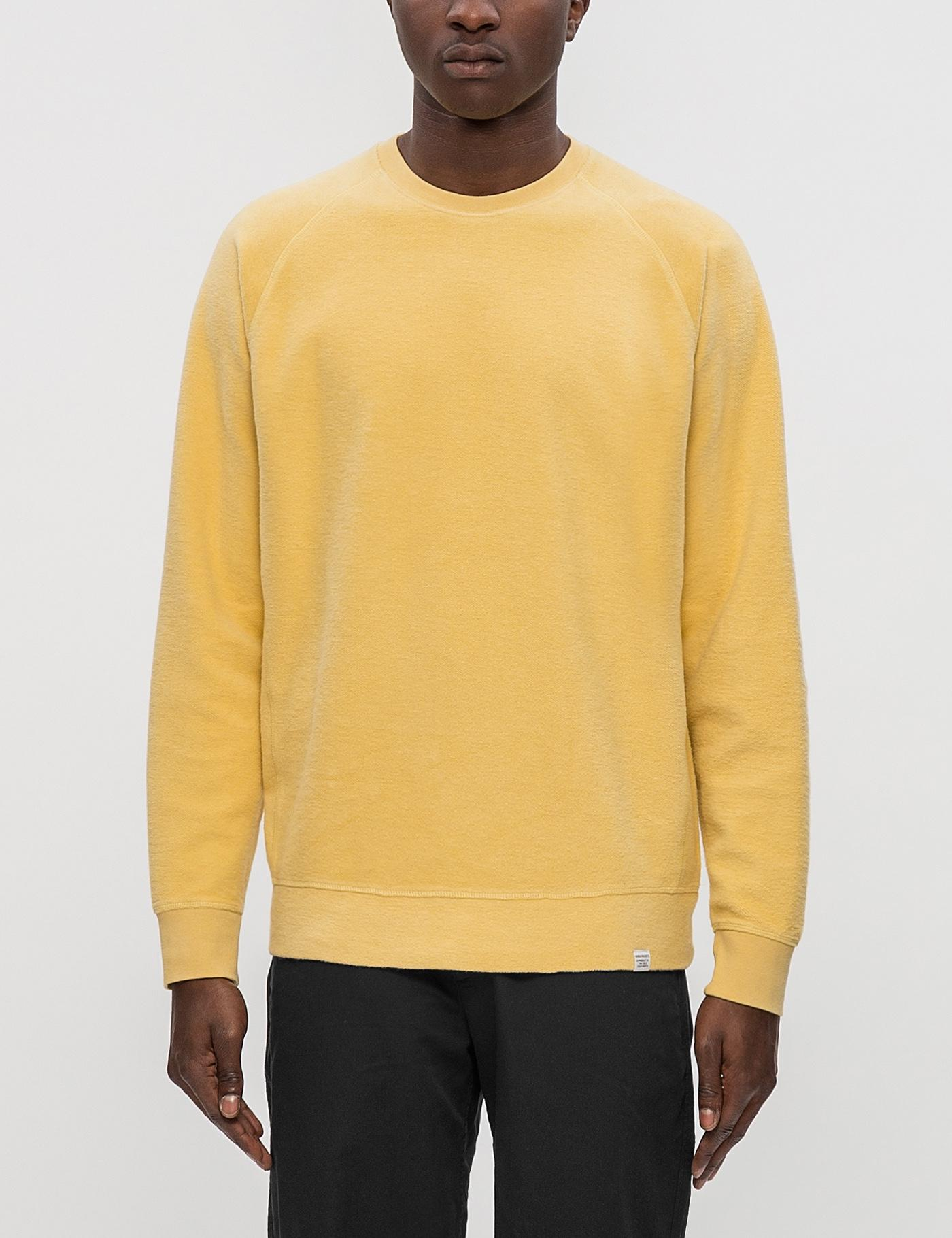Norse Projects Ketel Solid Brushed Sweatshirt In Yellow