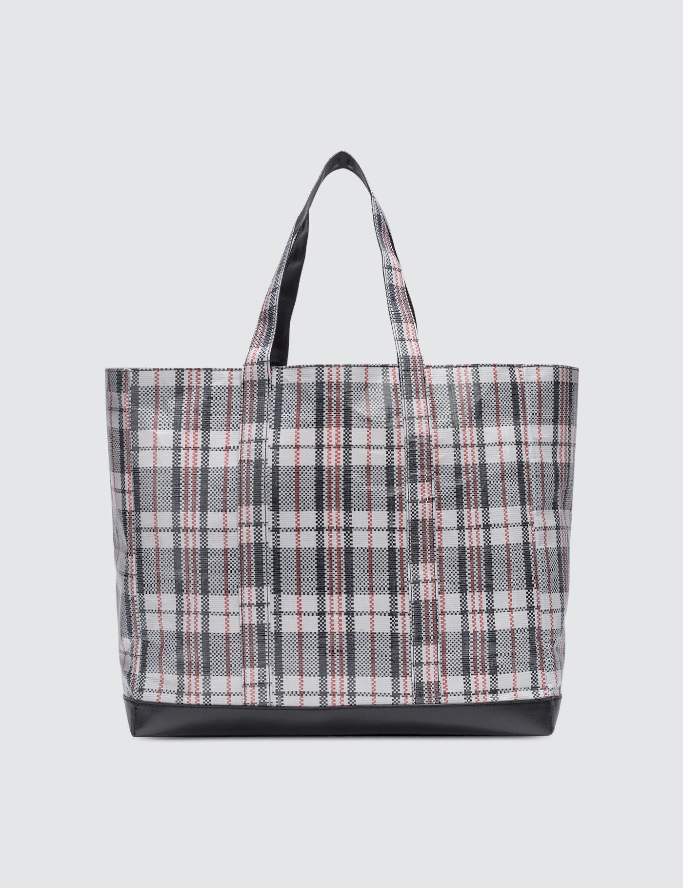 Helmut Lang Woven Plaid Shopping Bag y2zmHG